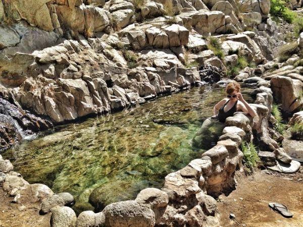 Angela being swanky in the hot springs